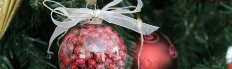 Faux Cranberry Filled Glass Ornament