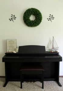 Boxwoood Wreath Above Piano