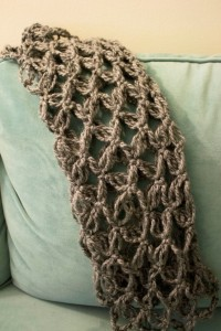 Crochet Gray Scarf Love Knot