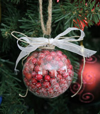 DIY FAUX CRANBERRY FILLED GLASS ORNAMENT