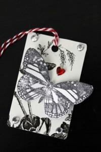 Gift Card turned Gift Tag Black & White Butterfly