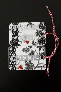 Gift Card turned Gift Tag Black & White Cheers_Thanks